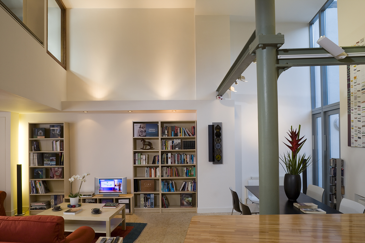 exposed steel work and open plan