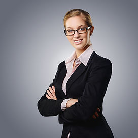 Smiling businesswoman posing for headshot: Promotion