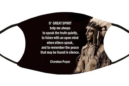 Cherokee Prayer (O' Great Spirit) Adjustable Filter Face Mask w/4 Filters/ S-M