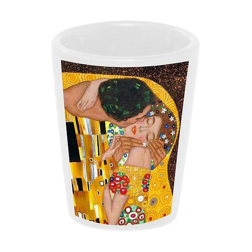 """The Kiss"" (Klimt) Shot Glass 1.5 oz Ceramic/ Handmade in the USA"