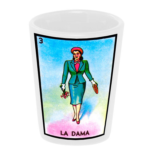"""Loteria: La Dama"" (the Lady) Shot Glass"