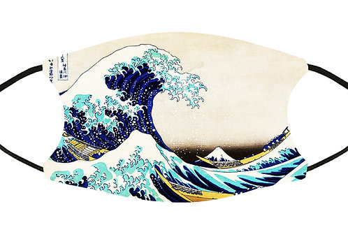 The Great Wave... (Hokusai) Adjustable Filter Face Mask S-M w/4 Filters/Reusable