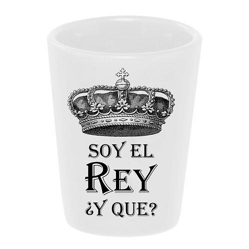 """Soy El Rey"" (I'm the King) Shot Glass Ceramic 1.5 oz./ Handmade in USA"