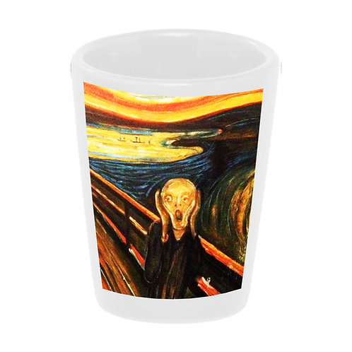 """The Scream"" (Munch) Shot Glass 1.5 oz Ceramic/ Handmade in the USA"