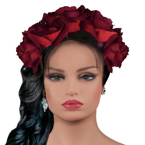 Frida Burgundy Flowers  Crown