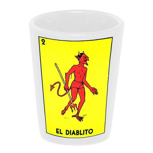 """""""Loteria: El Diablito"""" (the Devil) Shot Glass"""