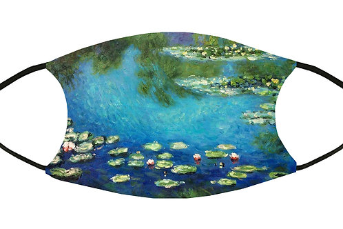 Water Lilies (Monet) Adjustable Filter Face Mask S-M w/4 Filters/ Reusable