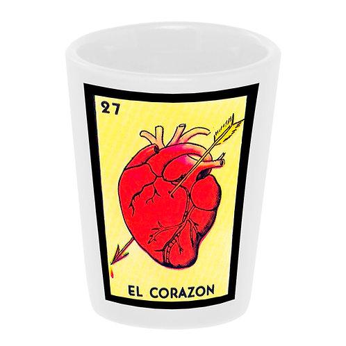 """""""Loteria: El Corazon"""" (the Heart) Shot Glass 1.5 oz. Ceramic"""