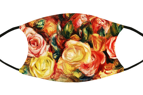 Roses (Renoir) Adjustable Filter Face Mask w/4 Filters/ S-M/ Washable/ Reusable