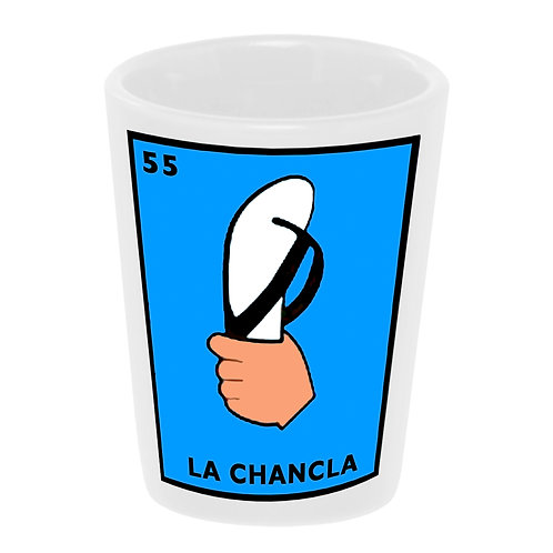 """Loteria: La Chancla"" (Flip-Flop) Shot Glass 1.5 oz.Ceramic Handmade in USA"
