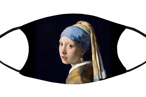 Girl with a Pearl Earring (Vermeer) Adjustable Filter Face Mask w/4 Filters/ S-M