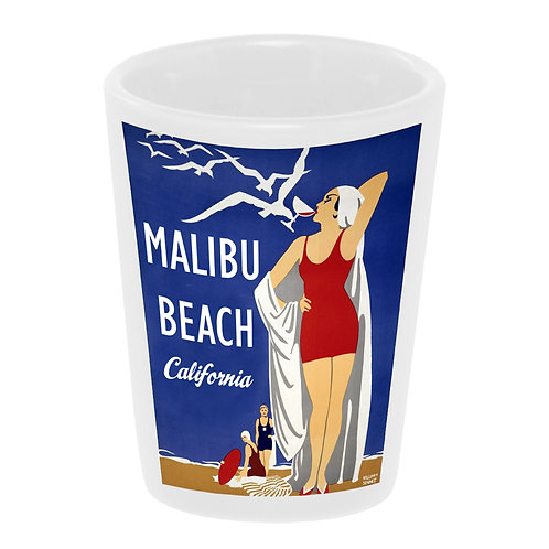 """Malibu Beach"" Shot Glass Ceramic 1.5 oz./ Handmade in USA"