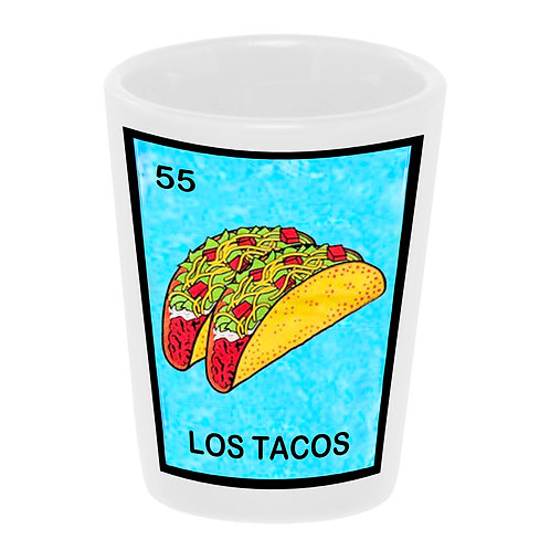 """Loteria: Los Tacos"" Shot Glass 1.5 oz. Ceramic Handmade in USA"