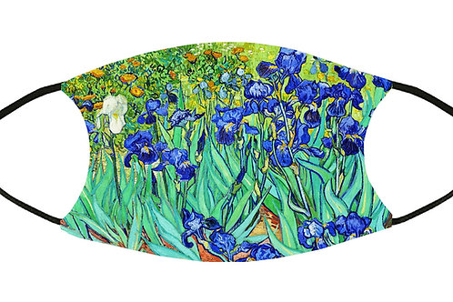 Irises (Van Gogh) Adjustable Filter Face Mask S-M w/4 Filters/ Reusable / Soft