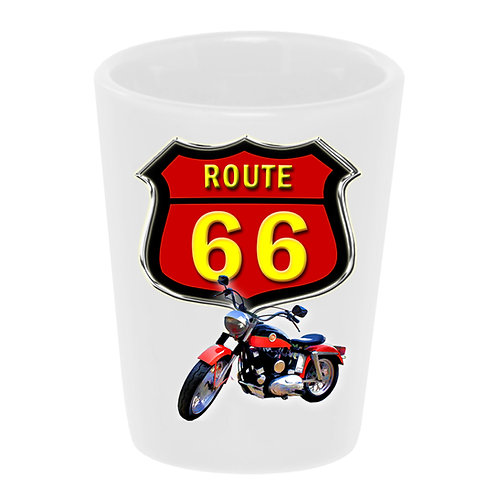 """Route 66 1960 Harley"" Shot Glass"