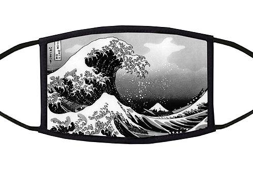 The Great Wave off Kanagawa (Hokusai) Black / White Adjustable Face Mask