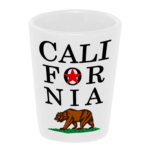 """Cali-for-nia Bear"" Shot Glass 1.5 oz. Ceramic"