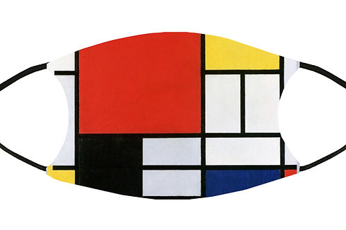 Composition in Red, Blue & Yellow (Mondrian) Adjustable Face Mask S-M w/4Filters