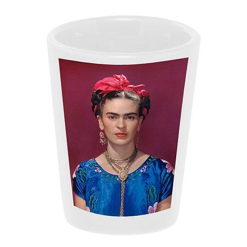 """Frida with Pink Bow"" Shot Glass Ceramic 1.5 oz./ Handmade in USA"