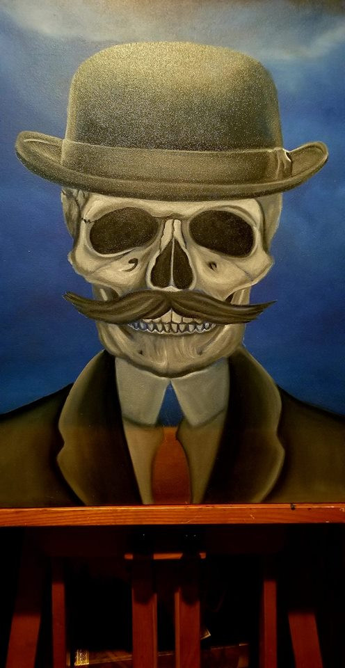 Now I can let my painting dry and then work on the details later. Hmmm, what will the finished painting look like?  It will be done just in time for Dia De Los Muertos! Work by Ginette Rondeau