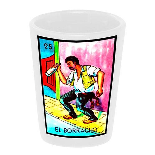 """Loteria: El Borracho"" (the Drunk) Shot Glass 1.5 oz. Ceramic Handmade in USA"