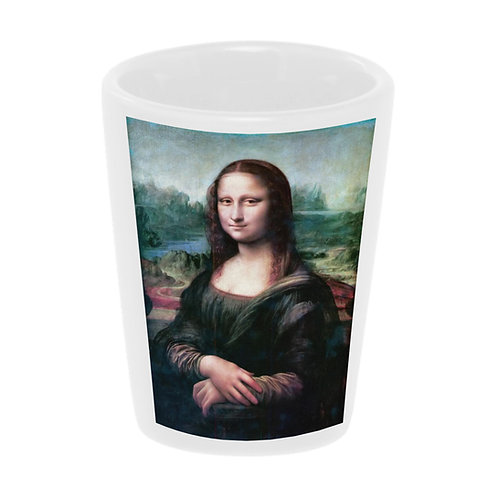 """Mona Lisa"" (Da Vinci) Shot Glass 1.5 oz Ceramic/ Handmade in the USA"