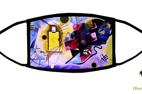 Yellow and Blue (Kandinsky) Adjustable Face Mask / 3-ply/ Washable/ Made in USA
