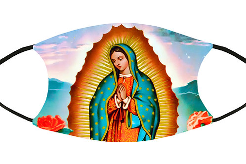Virgin of Guadalupe Adjustable Filter Face Mask S-M w/4 Filters/ Reusable