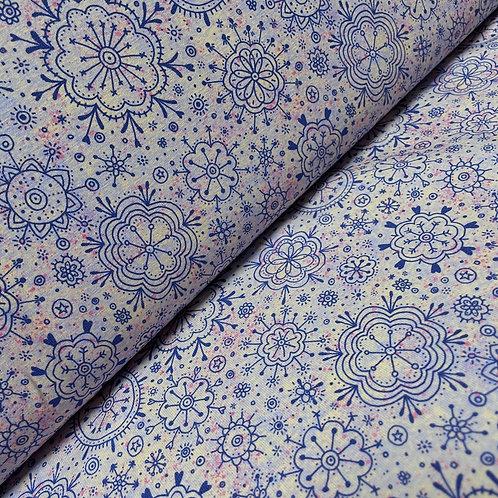 Bio-Jersey Blumendoodle in blau, auf der Rolle