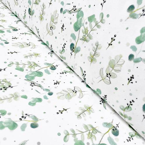Bio-Jersey mit Eucalyptus-Blättern, auf der Rolle