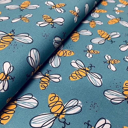 Petrolfarbener Baumwollstoff mit Bienen, Detailansicht