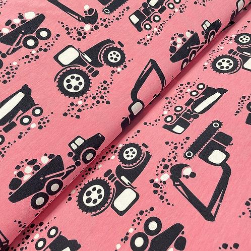 Bio-Jersey mit Traktoren in rosa, auf der Rolle
