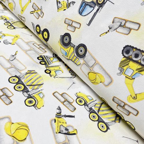 Jersey mit gelben Baustellenfahrzeugen, auf der Rolle