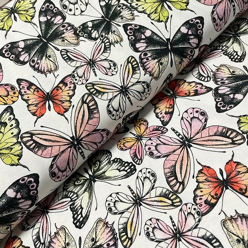 Jersey mit Schmetterlingen, auf dem Stoffballen