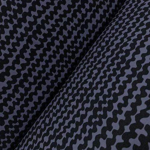 Blauer Bio-Baumwolljersey mit Wellenmuster