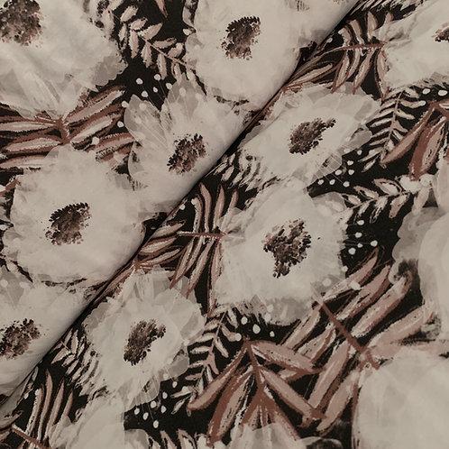 Modal-Stoff mit Yasminblumen in schwarz und braun
