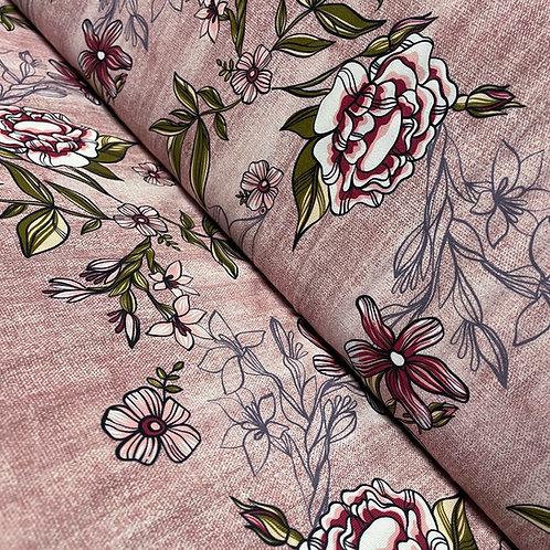 Bio-Jersey in Jeans-Optik helllila mit Blumen, auf der Rolle