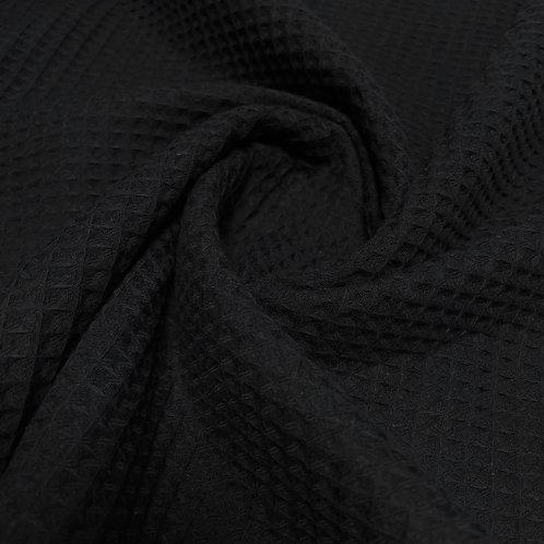 Waffelstoff in schwarz