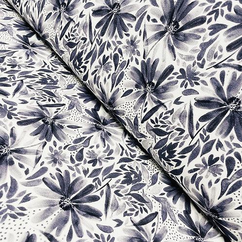 Jersey mit Echinacea-Blüten in graublau, auf der Rolle