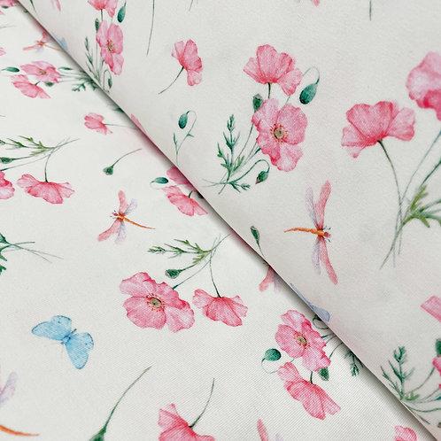 Jersey mit Libellen und Blumen, auf der Rolle