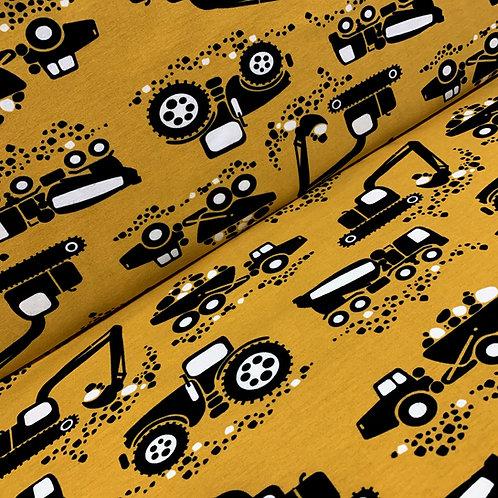 Bio-Baumwolljersey in senfgelb mit Traktoren