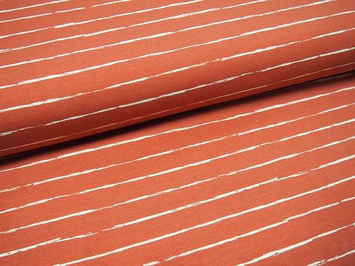 korallroter Jersey-Stoff mit gemalten Linien