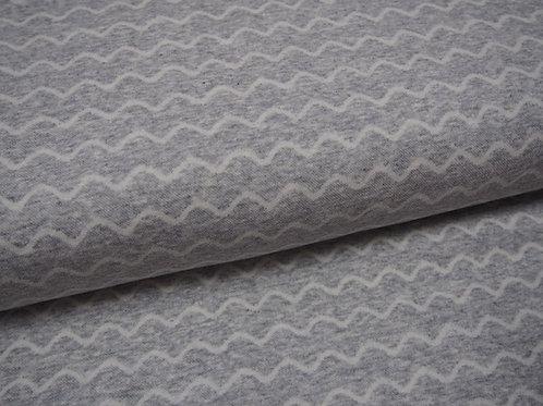 hellgrauer Jacquard-Jersey-Stoff mit Wellen sehr kuschelig