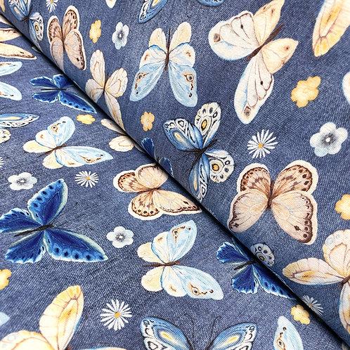 Jersey im Jeans-Look mit Schmetterlingen, auf der Rolle