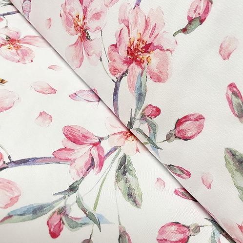 Bio-Jersey mit Kirschblüten, auf der Rolle