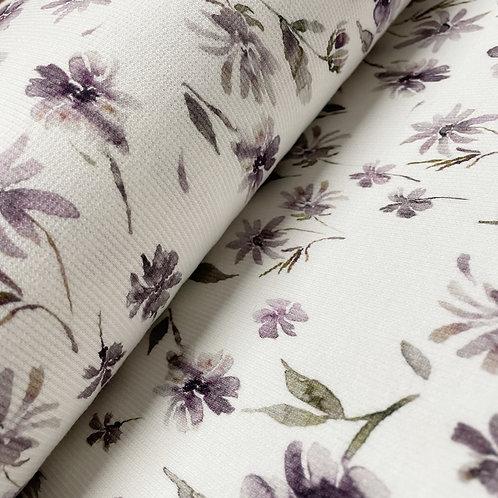 Ripp-Jersey mit lila Wildblumen, auf der Rolle