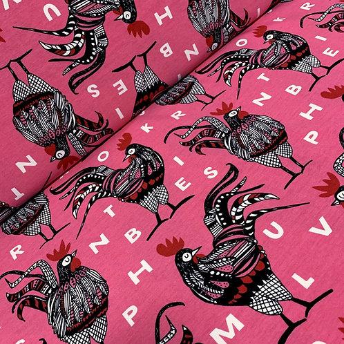 Baumwolljersey in pink mit Hahn