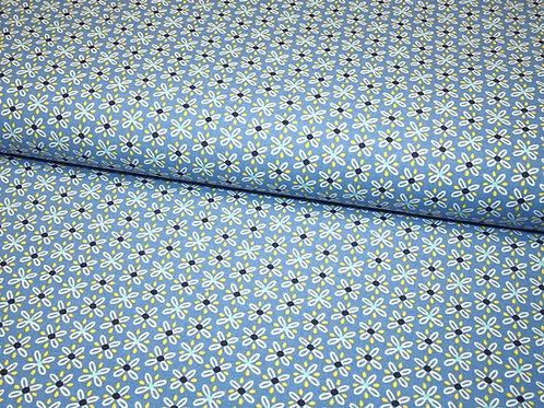 blauer Baumwollstoff mit Blumen