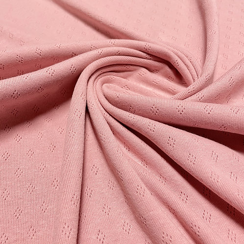Feinstrickjersey mit Lochmuster in rosa