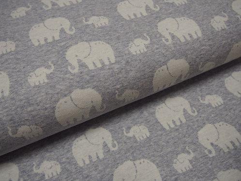 hellblauer, sehr weicher Jacquard-Jersey-Stoff mit Elefanten ideal für Babys